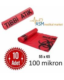 Tıbbi Atık Torbası Kalın Rulo 10 adetlik 55x65