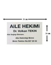 Hekim İç Tabela Dr. isimliği tabelası