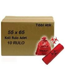 Toptan Tıbbi Atık Torbası 55x65 10 Rulo